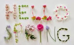 Hello Spring written in flowers