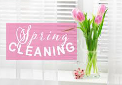 ENH is spring cleaning. Pink tulips in clear vase in front of window with white shutters